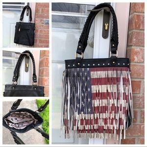 4e37a022eb85 Handbag Republic american flag fringe Tote Purse